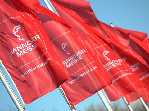 flags with Hannover Messe written on them