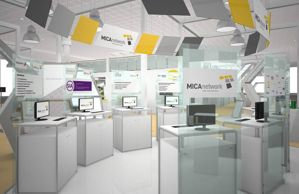 Rendering of trade fair booth with MICA branding and sps ipc drives label
