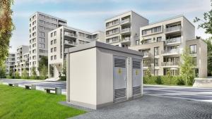 Trafohäuschen in Neubaugebiet